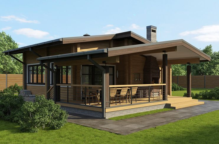 Одноэтажные дома с верандой фото
