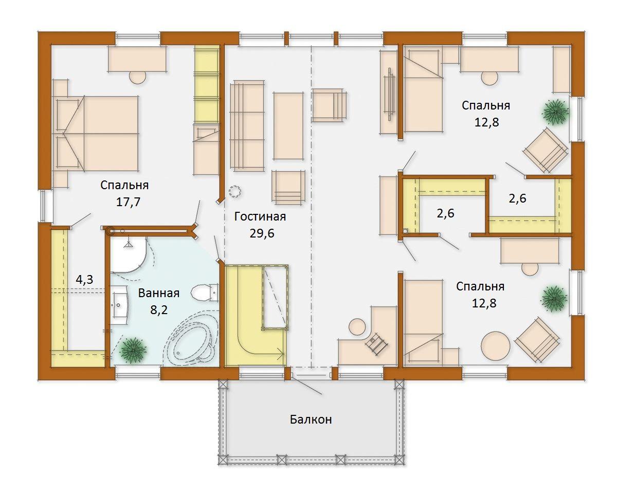 план схема дома размером 6 на 8 марта