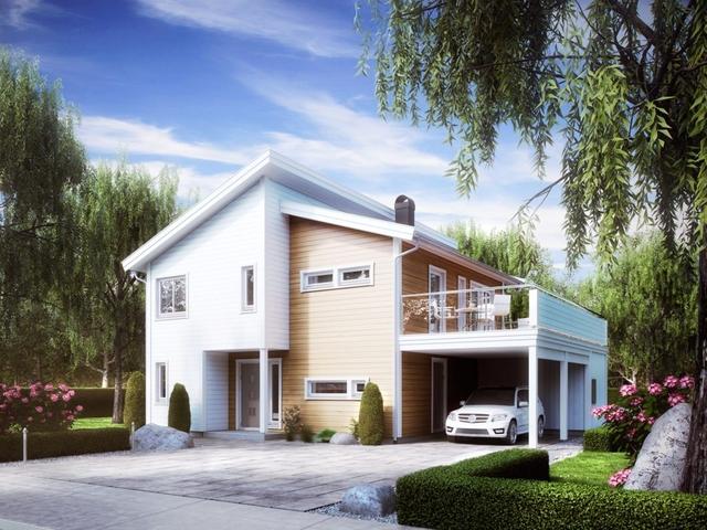 Проект двухэтажного финского дома Астрид с гаражом