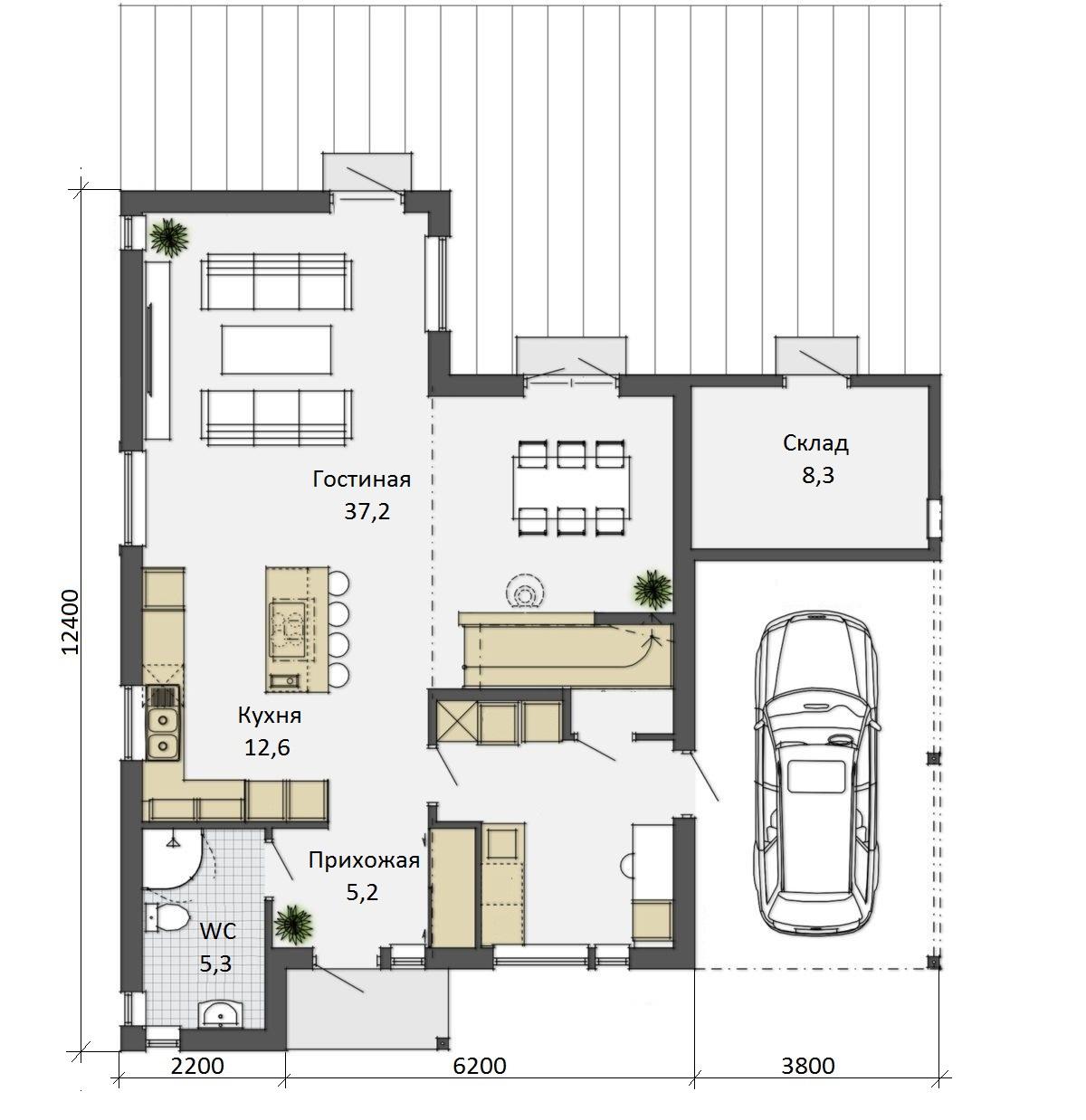 Планировка двухэтажного финского дома Астрид с гаражом