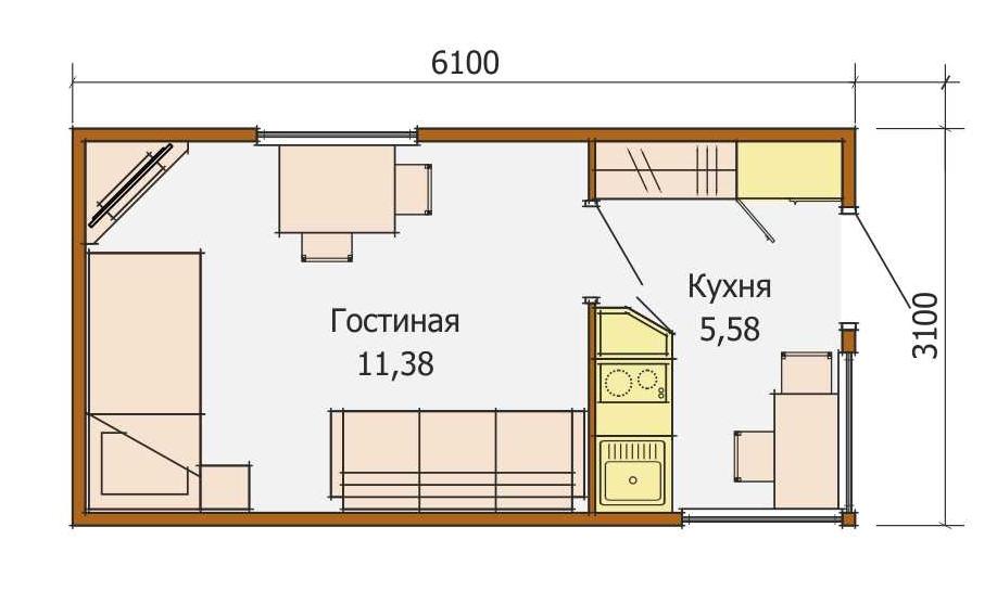Катюша — летний садовый домик — планировка
