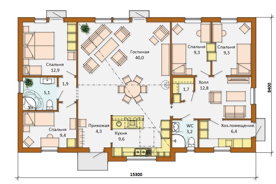 Проект дома одноэтажный на 150 кв м