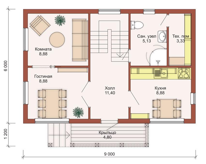 Крыша дома в полтора этажа
