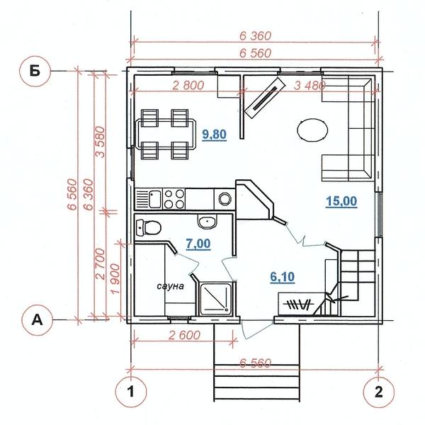 Планировка дачного дома 6х6 с санузлом