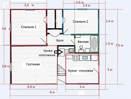 Планировка дома Кейп Код Билла Левитта