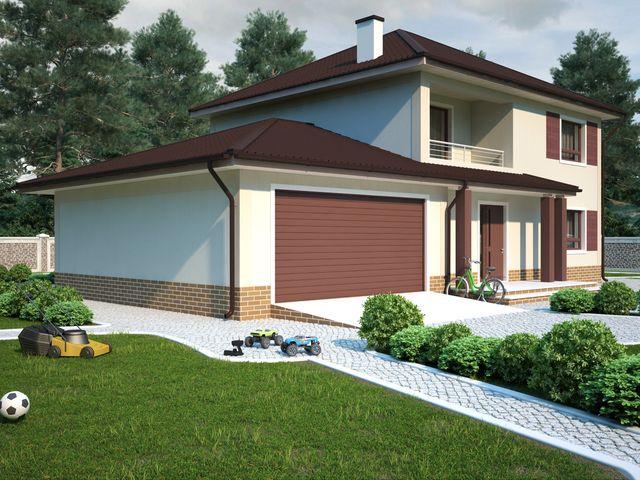 Каркасный двухэтажный дом с гаражом изготовление железных гаражей в екатеринбурге